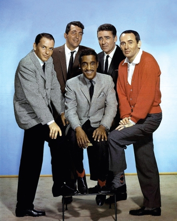 The Rat Pack during production of Ocean's Eleven: Frank Sinatra, Dean Martin, Sammy Davis Jr., Peter Lawford, and Joey Bishop.