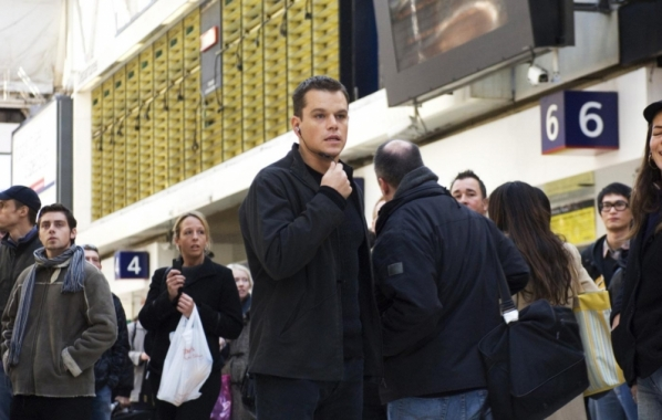 A production photo of Bourne in Waterloo Station.