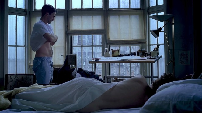 Don dresses after another night with his girlfriend Midge (Rosemarie DeWitt).