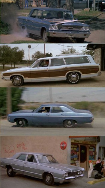 The McCoy family's getaway fleet, top to bottom: Ford Galaxie, Ford Country Squire, Chevrolet Impala, and Mercury Monterey.