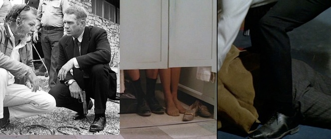 Left: Peckinpah chats with McQueen while squatting outside the set of Benyon's ranch. Center: Doc and Carol share an intimate moment in a laundry booth before... Right: ...Doc comes face to face (or foot to foot, in this screenshot) with an old nemesis.