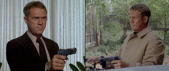 Left: McQueen aims a genuine Colt Government pistol during a non-firing scene. Right: After his gunfight with Rudy, McQueen was armed with a Star Model B, photographed from the left so the Star's distinctive external extractor wouldn't be seen on the right side of the slide.