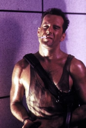 Bruce Willis as Det. John McClane in Die Hard.