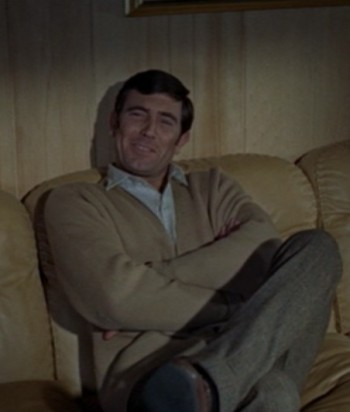 George Lazenby as James Bond on Christmas Eve in On Her Majesty's Secret Service.