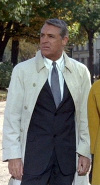 Cary Grant as the multi-named hero in Charade.
