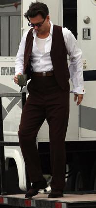 Johnny Depp behind the scenes as John Dillinger in Public Enemies.