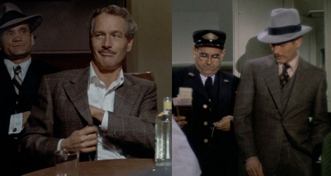 The train conductor (on the right... in the conductor's uniform) was impressed enough by Gondorff's suit to refer to it specifically as a sign of his opulence.Lonnegan's bodyguard (left) is considerably less impressed.