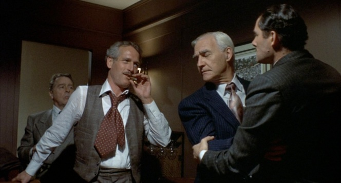 Yes, Paul Newman looks cool here, but the main focus is Robert Shaw and the silver-haired gambler in the blue suit HUGGING for at least ten seconds straight in this scene. I mean, I know he was supposed to be restraining him from going after Gondorff, but geez!