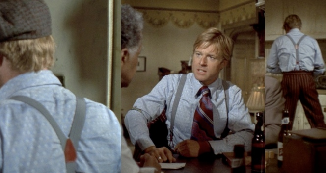 The many sides of Robert Redford's striped suspenders.