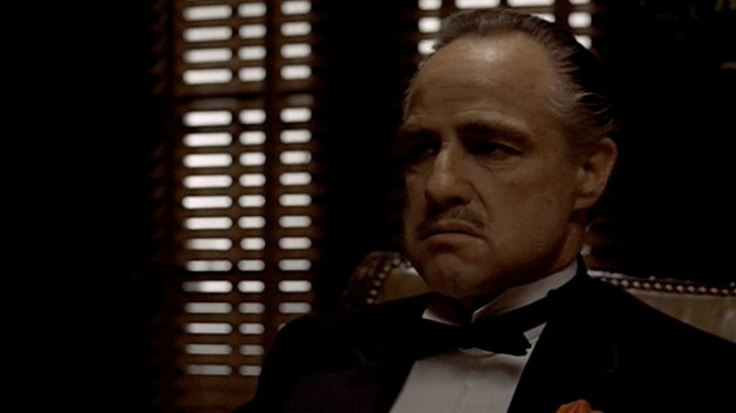 Our first look at Don Corleone. If you thought meeting your father-in-law for the first time was intimidating, imagine what Carlo's experience would've been like. Almost makes him a sympathetic character, no?