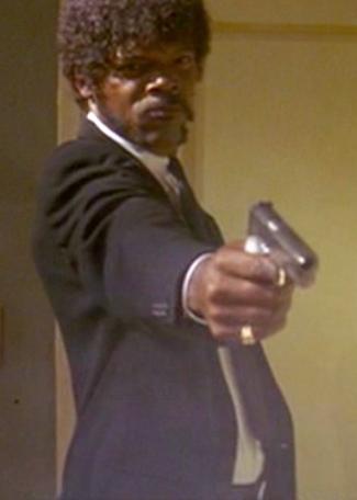 Samuel L. Jackson as Jules in Pulp Fiction.