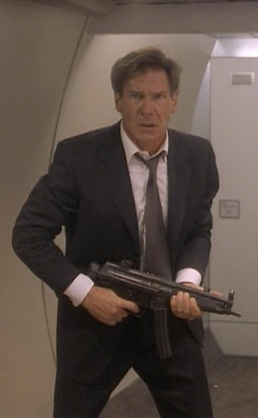 Harrison Ford as U.S. President James Marshall in Air Force One.