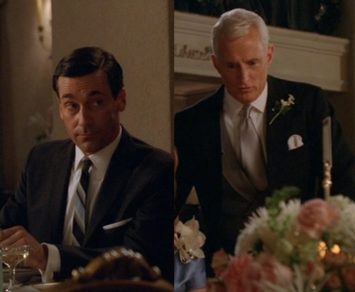 Jon Hamm as Don Draper (left) and John Slattery as Roger Sterling (right) in