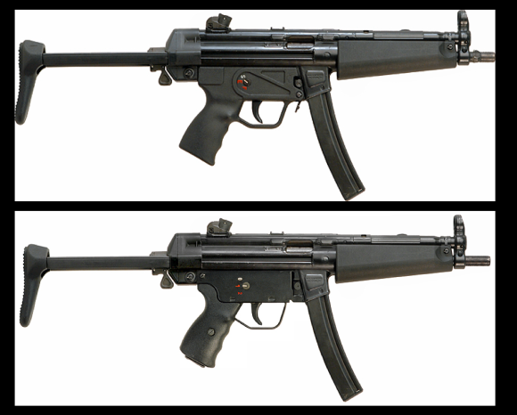 Top: A genuine Heckler & Koch MP5A3.Bottom: A Heckler & Koch HK94A3 carbine converted to resemble an MP5A3.