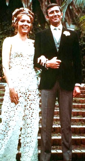 George Lazenby as James Bond, with new wife Tracy (Diana Rigg), in On Her Majesty's Secret Service.