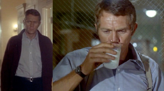 Left: Steve pensively wonders if he will EVER get to drink a glass of milk.Right: Satisfaction.