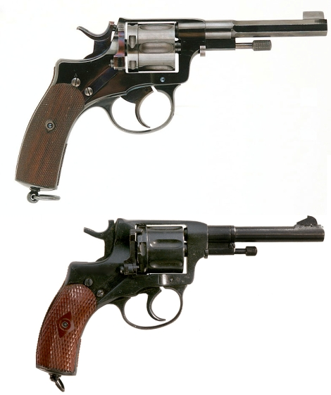Top: A Swedish Nagant 1887, as carried by Reilly in the series. Bottom: A Russian Nagant 1895, the standard sidearm of the Russian military and police through the first half of the 20th century. (Images from IMFDB).