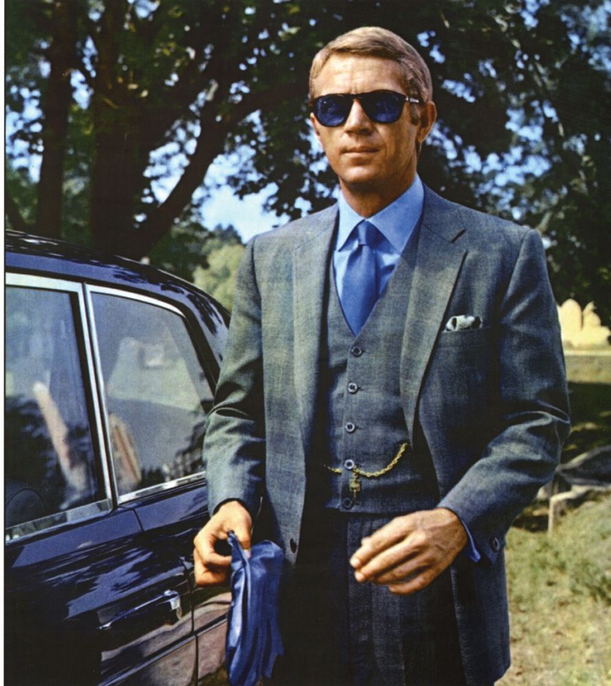 steve mcqueen s gray plaid suit as thomas crown bamf style. Black Bedroom Furniture Sets. Home Design Ideas