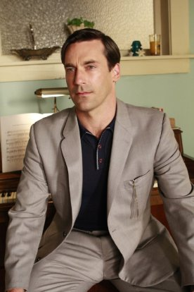 "Jon Hamm as Don Draper in ""The Mountain King"", the twelfth and penultimate episode of Mad Men's second season."