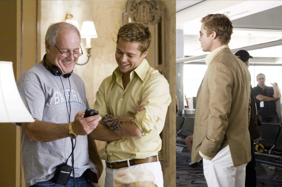 A behind-the-scenes set of photos provides the best shot of Rusty's shirt and also gives us the invaluable bit of information that producer Jerry Weintraub, who also cameos as Denny Shields, wears a gold Rolex. The photo on the right also included Weintraub and Clooney and can be found available online. Note the vents and jacket detail of Rusty's sport coat.