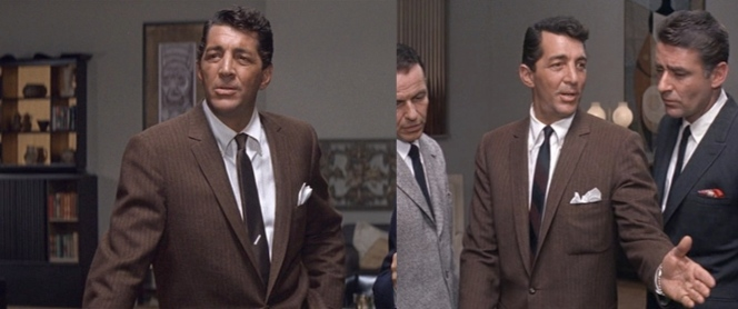 Left: Dean in the brown tie worn for most of the scene. Right: Dean now sports a dark block-striped tie when he's surrounded by his team. What gives?