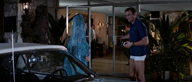 With his polo, short white shorts, and warm smile, this is the most that James Bond has ever resembled Mad Men's Bob Benson.