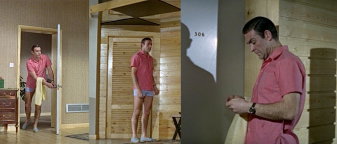 Bond's look in Thunderball is considerably more casual than his attire in Goldfinger.