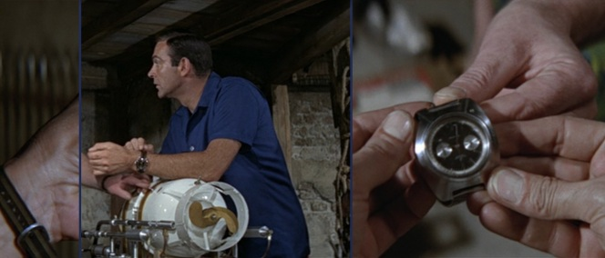 Bond's Rolex is replaced in this scene by the Breitling.