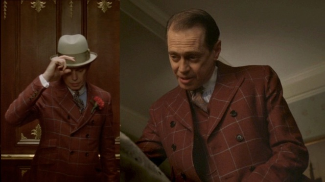 Nucky wears his jacket with the buttons closed and open.