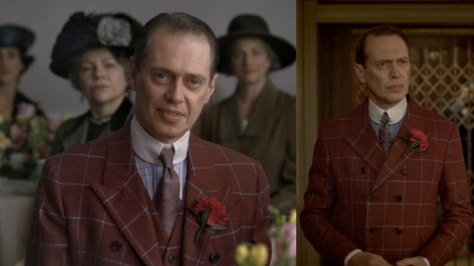 Nucky's shirt's look very similar at first glance, but details like the type of plaid and cuff colors mark subtle differences.