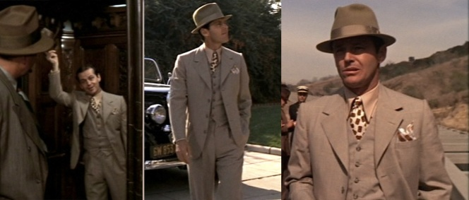 The three stages of Gittes' investigation. Notice how he goes from downright giddy (far left) to gritty (far right) as the case grows more complicated.