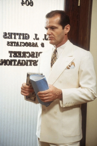 Jack Nicholson as J.J. Gittes in Chinatown.