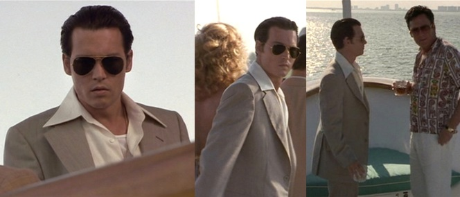 Despite some of the other guys ditching their coats in the heat, Donnie keeps his full suit on throughout the party. Make sure the suit you wear on your yacht is comfortable enough to do the same.
