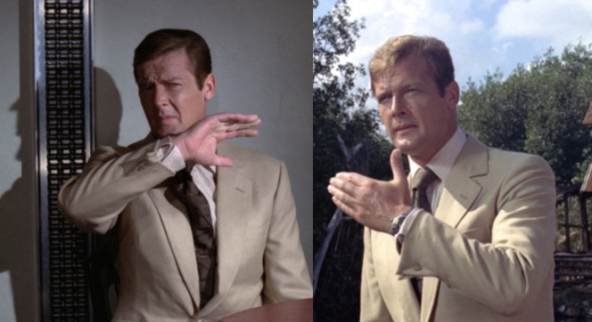The link-button sport coat cuffs were a distinctively Moorean feature. Also, notice the turnback cuffs - one of the few callbacks to Connery's Bond style.