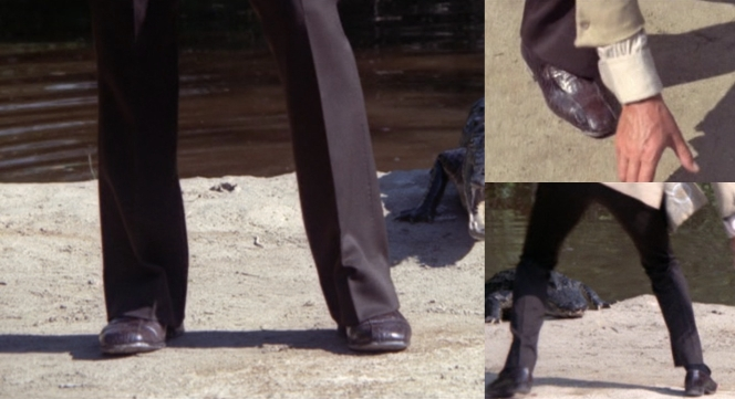 That crocodile might not have been so mad if Bond wasn't wearing his nephew on his feet.