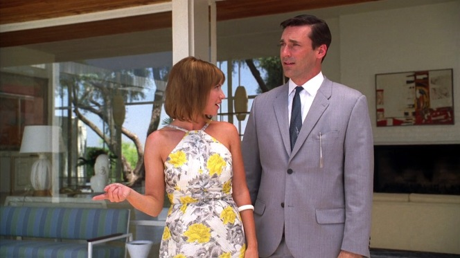 Joy shows Don around their new Palm Springs abode.