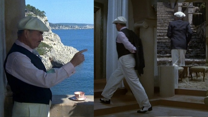 Odell leaves his morning coffee to go for a walk around the island. He puts on a dark sport coat, but we hardly see it.