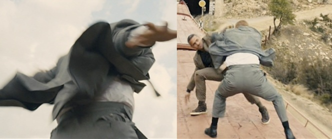 To understand why some critics are complaining about the small fit of Craig's suit, look at his pants in the train-fighting scenes. Fighting on top of a train is not a situation you want to look silly in.