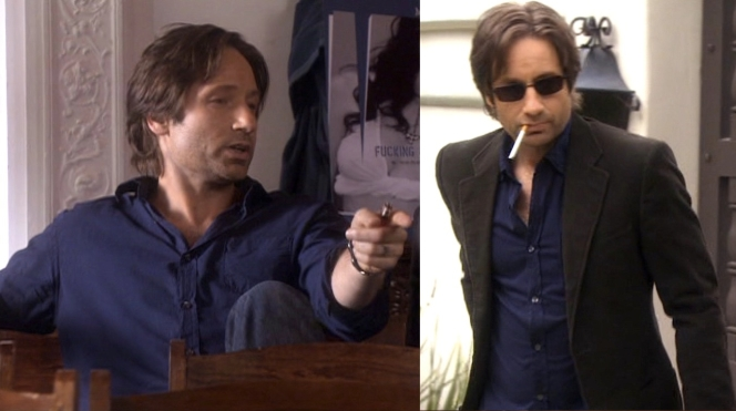 Hank wears his shirt while at Mia's book part (left, in 2.11) and while investigating for Lew's biography (right, in 2.06).