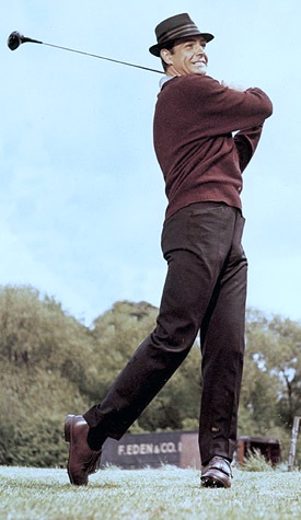 Sean Connery at Stoke Poges Golf Club as James Bond in Goldfinger.