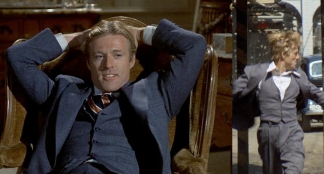 Hooker's relaxing day (left) is ruined by the arrival of Lt. Snyder, which sends him running atop Chicago's L-train (right). Note how different the suit looks in different lighting - bluer when inside and grayer when outside.