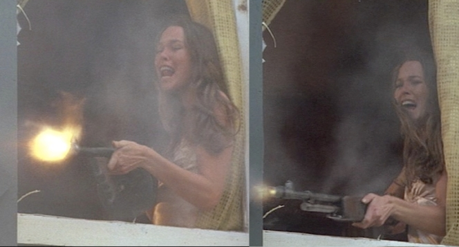 Billie's gun changes from a Thompson (left) to a BAR (right) while she covers Dillinger's escape from Little Bohemia. I don't care about the continuity error, I just think it's badass seeing the waiflike Michelle Phillips from The Mamas and the Papas blasting away with an automatic weapon.