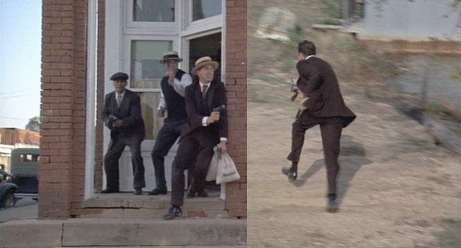 (Left) Carroll, Floyd, and Dillinger shoot their way out of a bank robbery. (Right) Dillinger, now on his own.