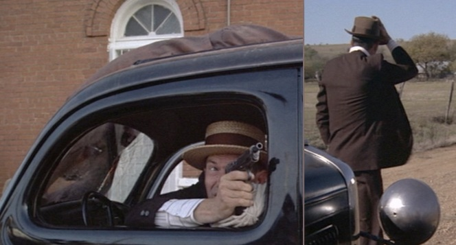(Left) Dillinger fires his pistol until it runs empty during a bank robbery getaway. A dead vigilante landed on the top of his '35 Ford, somehow avoiding the The Untouchables effect. (Right) A somewhat calmer moment.