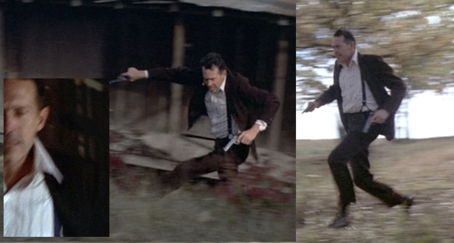 Dillinger's suspenders are best seen when he is escaping Little Bohemia. The inset photo (bottom left) shows that the suspenders are actually blue. This makes sense, as suspenders are meant to be pretty hidden when worn with a three-piece suit.