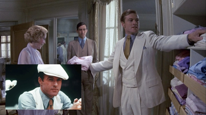 Some sources have stated that the vest lapels for this suit are shawl lapels, but the production photo (inset bottom left) proves that they are, like the pink suit, peak lapels. The next time you and your friends are arguing about this, as you're wont to do, please consult this blog.