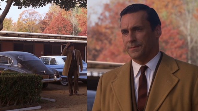 Also notice Don's beautiful new Cadillac Coupe de Ville parked just behind him, the perfect car for cruising through a brisk autumn day.