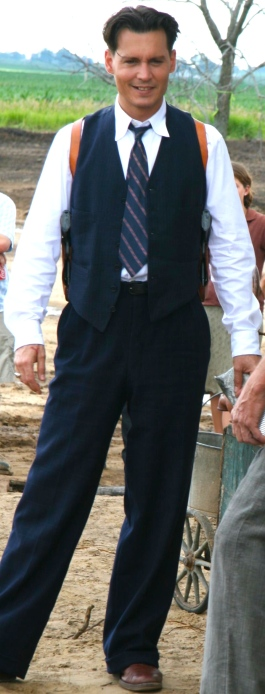 Johnny Depp behind-the-scenes as John Dillinger in Public Enemies.