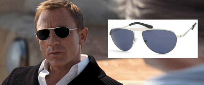 Bond's deceptively dark lenses are actually blue. Note that Bond keeps them on during the entire scene, perhaps so he wouldn't have to look directly at a guy he fucked over in the last movie.