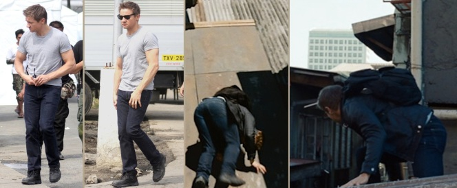 Cross's jeans are best identified in behind-the-scenes shots, as seen on the left.